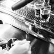 Detail Of Making Espresso Coffee With Machine Bw Art Print