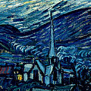 Detail Of The Starry Night Art Print