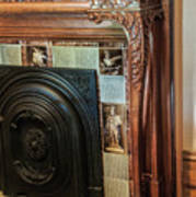 Detail Of Wood Carving And Tiles - Historic Fireplace Art Print
