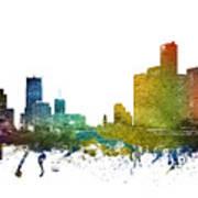 Detroit Cityscape 01 Art Print