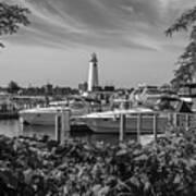 Detroit Lighthouse And Marina 3 Black And White  Art Print
