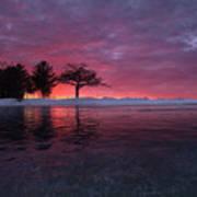 Detroit Point Sunset Off The Ice Art Print