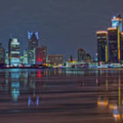 Detroit Skyline From Windsor In Hdr Art Print