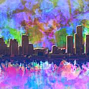 Detroit Skyline Watercolor 1 Art Print