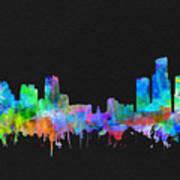 Detroit Skyline Watercolor 3 Art Print
