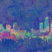 Detroit Skyline Watercolor Blue 3 Art Print