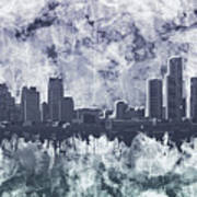 Detroit Skyline Watercolor Grunge Art Print