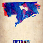 Detroit Watercolor Map Art Print