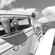 Deuce Coupe At The Drive-in Black And White Art Print
