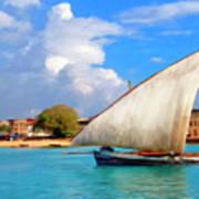 Dhow Off Zanzibar Art Print