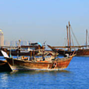 Dhows In Doha Bay Art Print