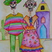 Dia De Los Muertos Mexican Couple Diego And Frida Art Print