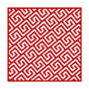 Diagonal Greek Key With Border In Red Art Print