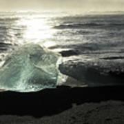 Diamond On Diamond Beach Black Sand Waves Clouds Iceland 2 2162018 1985.jpg Art Print