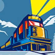 Diesel Train Winter Print by Aloysius Patrimonio