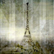 Digital-art Paris Eiffel Tower Geometric Mix No.1 Art Print by Melanie Viola