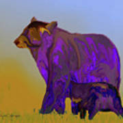 Digital Black Bear Sow And Cub Art Print