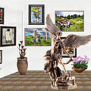 digital exhibition _  sculpture of a Angels and Demons  Art Print
