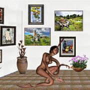 digital exhibition _beautiful Girl  - Zombie Art Print
