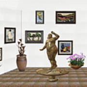 digital exhibition  Statue 25 of posing lady  Art Print