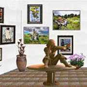 digital exhibition _Statue 4 of posing girl 221 Art Print