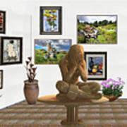 digital exhibition _Statue 5 of posing girl 221 Art Print