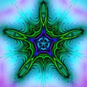 Digital Kaleidoscope Green Star 001 Art Print