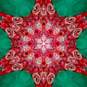Digital Kaleidoscope Red-green-white 8 Art Print