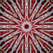 Digital Kaleidoscope Red-white 7 Art Print