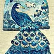 Digital Peacock 1 Art Print