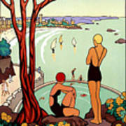 Dinard, French Riviera, Two Swimmers  Art Print