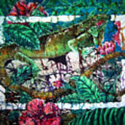 Dining At The Hibiscus Cafe - Iguana Art Print