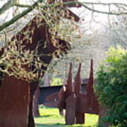 Dino Sculptures And Magnolia Blossom. Art Print