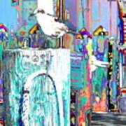 Disco Dock Seagull Art Print
