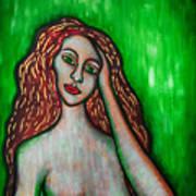 Discrete Contemplation-green Art Print by Brenda Higginson