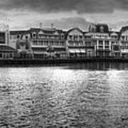 Disney World Boardwalk Gazebo Panorama Bw Art Print
