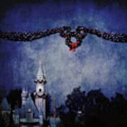 Disneyland Castle At Christmas Time Art Print