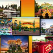 Disneyland Collage 02 Yellow Art Print