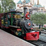 Disneyland Railroad Engine 3 With Castle Art Print
