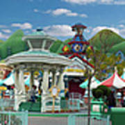 Disneyland Toontown Young Man Proposing To His Lady Panorama Art Print