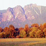Distant Cattle Grazing Beneath Cascade Mountains 1 Art Print