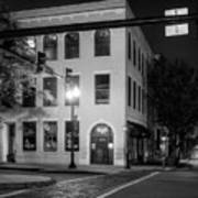 Distant Light On Front Street In Black And White Art Print