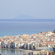 Distant View Of Cefalu Sicily Art Print