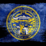 Distressed Nebraska Flag On Black Art Print