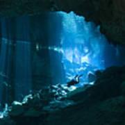 Diver Enters The Cavern System N Art Print