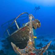 Divers Visit The Pelicano Shipwreck Art Print