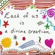 Divine Creation Doodle Quote Art Print