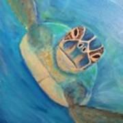 Diving Sea Turtle Art Print