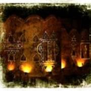 Diwali Lamps And Murals Blue City India Rajasthan 2b Art Print