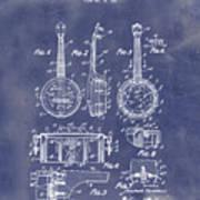 Dixie Banjolele Patent 1954 In Grunge Blue Art Print